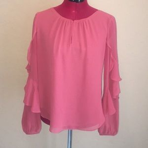 GUC WHBM Ruffle Sleeve Pink Blouse